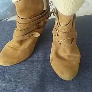 Nine West Ankle Boots Leather with Sherpa Lining